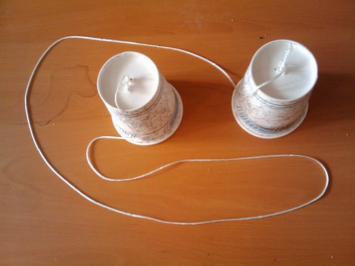 string and paper cups
