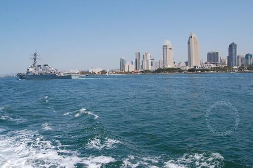 foam, water, ship, skyline