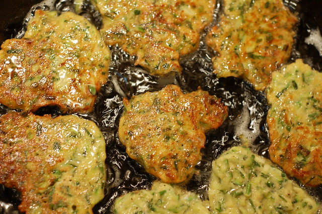 Frying the Zucchini Fritters by EveFox, the Garden of Eating blog