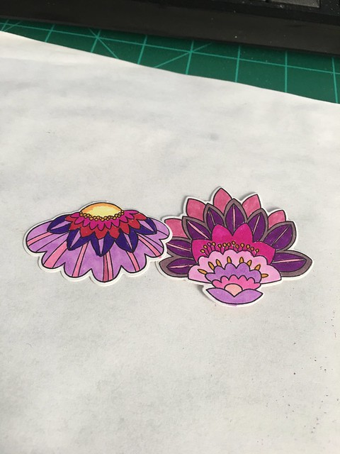 Fancy Flowers colored with markers