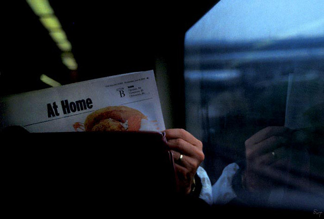 At Home.  On the train to North Station, Boston (2003)
