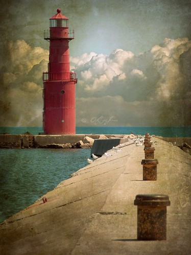 light red lighthouse lake water wisconsin clouds pier cement lakemichigan beacon algoma billowy redlighthouse northpier kewaunee omot multimegashot