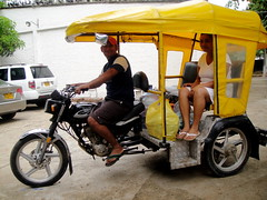 rickshaw, vehicle, motorcycle, land vehicle, tricycle,