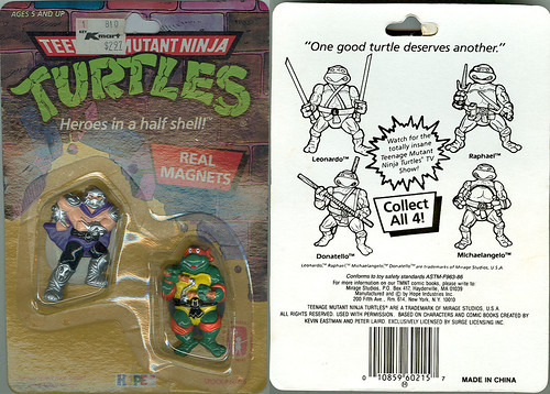 "HOPE INDUSTRIES ""TEENAGE MUTANT NINJA TURTLES"" Magnets :: SHREDDER & MICHAELANGELO i (( 1988 ))"