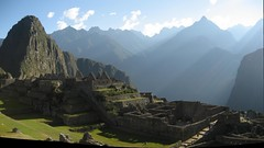 Composite Photo of Huayna Picchu, the Residential-Industrial Sector, with the Mountains as a Backdrop