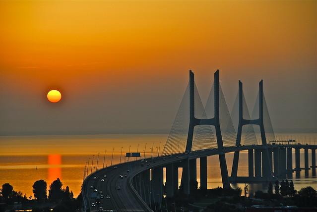 Sunrise (in orange)