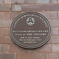 Photo of William Shakespeare, James Burbage, and The Theatre, Shoreditch brown plaque