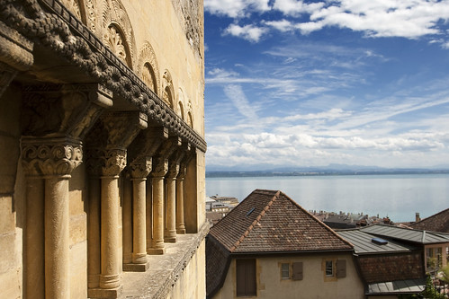 old blue sky lake castle water yellow stone clouds spectacular landscape switzerland view columns decoration medieval exquisite fortifications neuchâtel intricate losvizzero hauterivestone