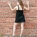 Beautiful Brunette Model Sexy Dress Side Shot Along Brick Wall by PhotoAmateur1