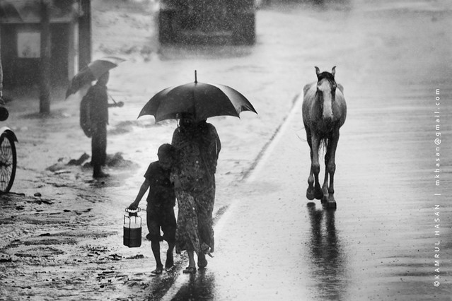 Missing Umbrella, Coxs Bazaar - 35 Fantastic Black and Whiite Street Photographs