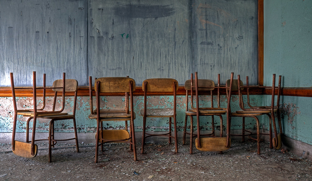 Chairs, abandoned school, Detroit