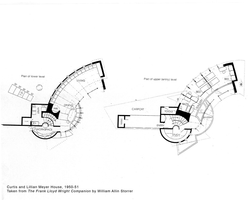 Curtis and lillian meyer house plan 1951 frank lloyd for Frank lloyd wright floor plans