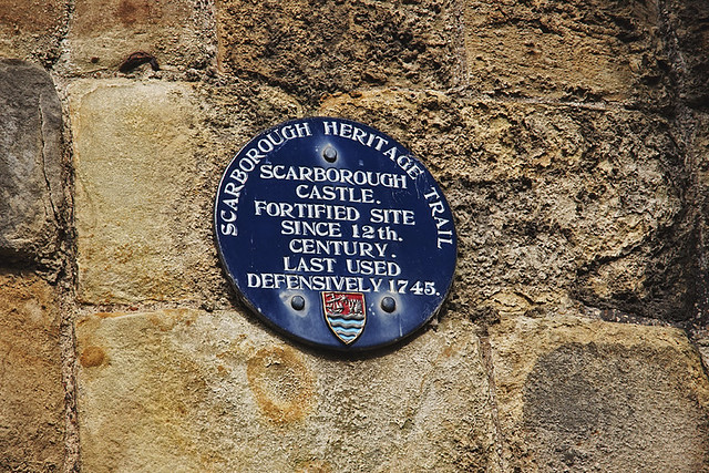 Photo of Scarborough Castle blue plaque