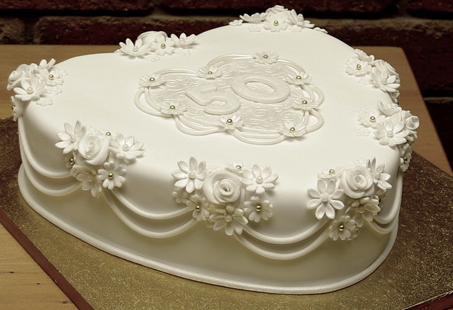 50th wedding anniversary cake fruit cake covered in fondan flickr photo sharing. Black Bedroom Furniture Sets. Home Design Ideas