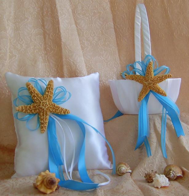 Beach Wedding Flower Girl Basket And Ring Bearer Pillow Set Real