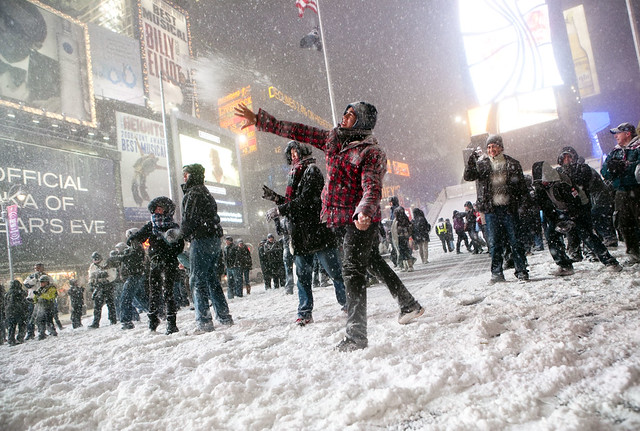 Snowball Fight in Times Square, Manhattan, Dec. 19, 2009