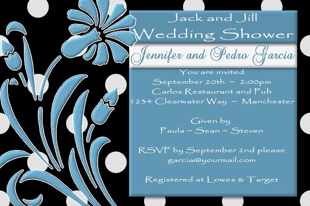 9060e38e5e49  C64 JACK AND JILL black shower invitation blue white polka dot