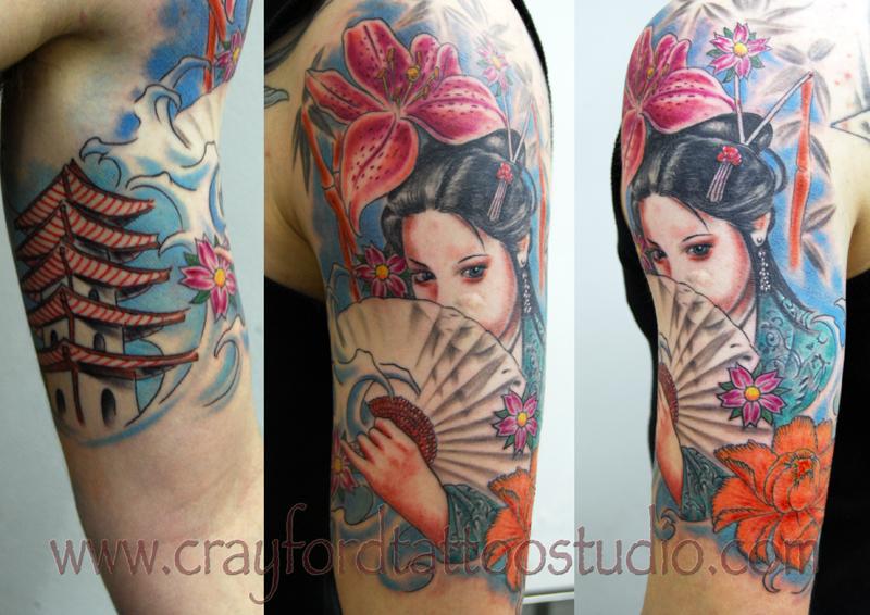 scarlett johansson tattoo design geisha girl tattoos. Black Bedroom Furniture Sets. Home Design Ideas