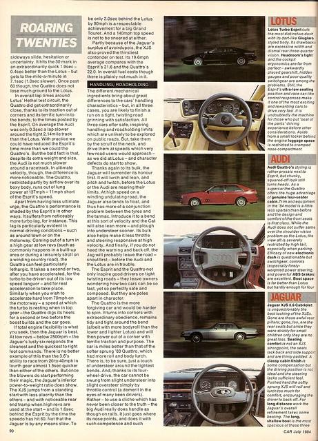 Audi Quattro UR - Jaguar XJ-S 3.6 Convertible & Lotus Esprit Turbo ...