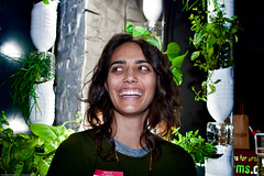 Maya Nayak with Window Farms by Britta Riley / Eyebeam Open Studios Fall 2009 / 20091023.10D.55539.P1.L1 / SML