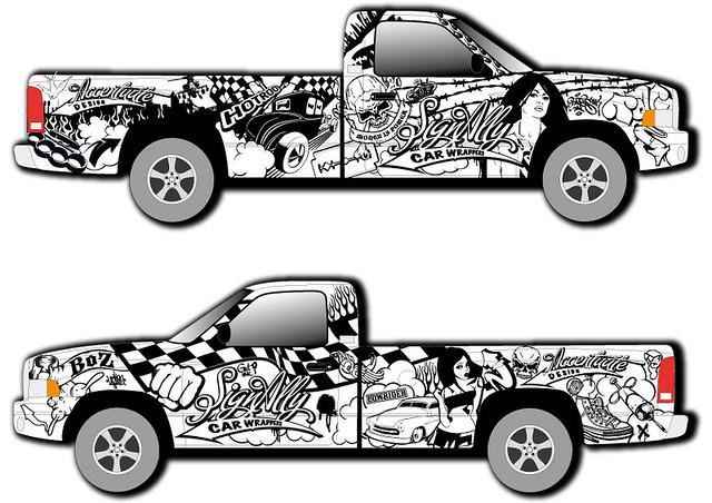 The signally dodge pickup vinyl wrap design posted via e