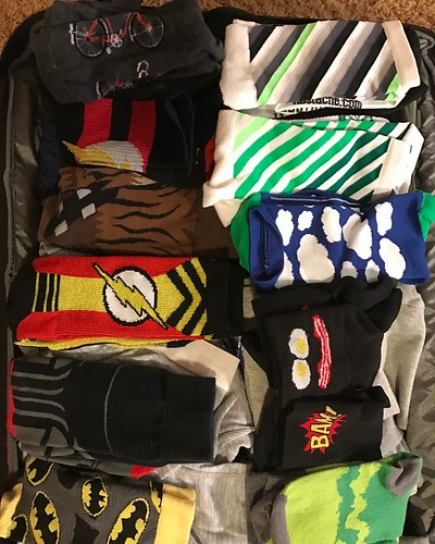 Not riding. Packed up. Taking this #sockgame on the road. Wondering if @sueymo can match this, or how @ironnutz and @hbanagatri23 are handling the cold on Saturday's ride today. . . . #sockdoping #batman #theflash @hbstache @sockguyluv #socalcyclistpodcas
