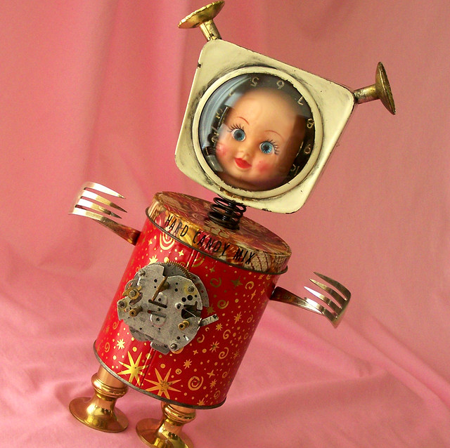 robot assemblage sculpture * SPACE BABY BEEBO