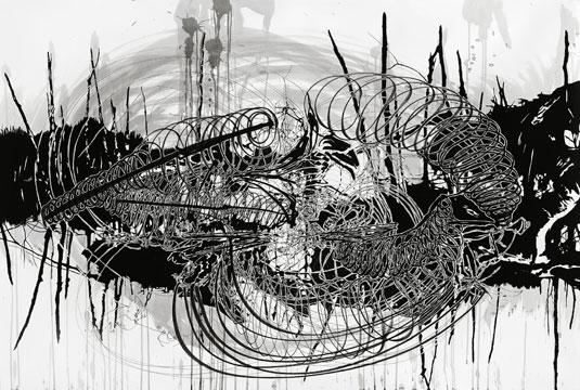 יהודית סספורטס, מתוך סדרת הרישומים הקרעים הקוסמיים, 2009, דיו על נייר. באדיבות האמנית, גלריה זומר לאמנות עכשווית, תל-אביב, גלריה אאיגן ארט, ברלין