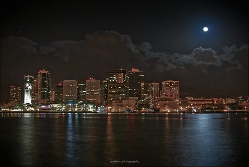 Honolulu Night Skyline in the moonlight