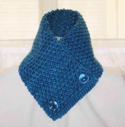 Hand knitted scarf neck warmer for man women blue How To Knit A Scarf For Man