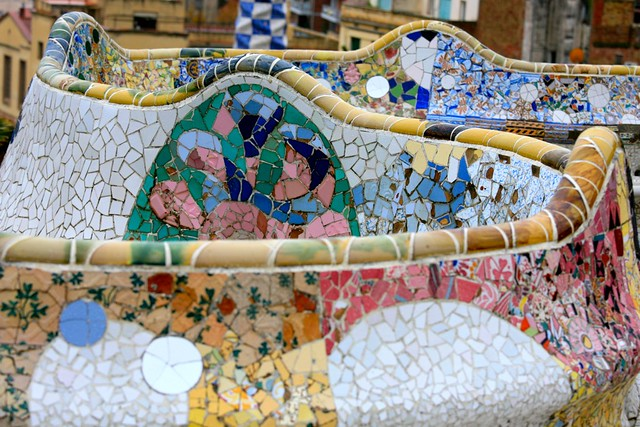 Benches at Park Guell by Antonio Gaudi