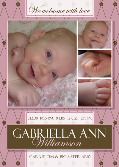 FREE Photoshop Template Girl Birth Announcement a photo on – Free Baby Birth Announcement Templates