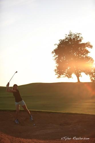 sunset girl silhouette golf nc north carolina links sandtrap golfer hollyridge archdale chipshot katiewiggins