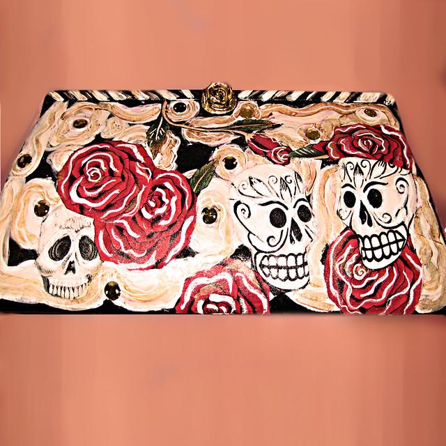 calavera & roses purse