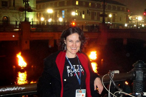 Tiffany Wilhelm at the WaterFire exhibit in Providence.