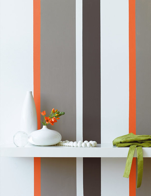 Grey and orange striped wall flickr photo sharing for Accent stripe wall