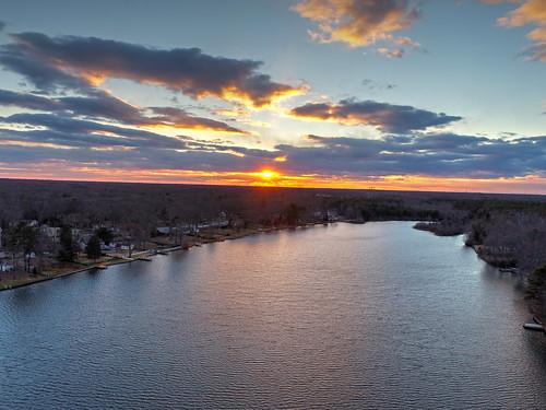 sunset sunrise timberlakesnj williamstown newjersey dji phantom4pro drone landscape beautiful color water