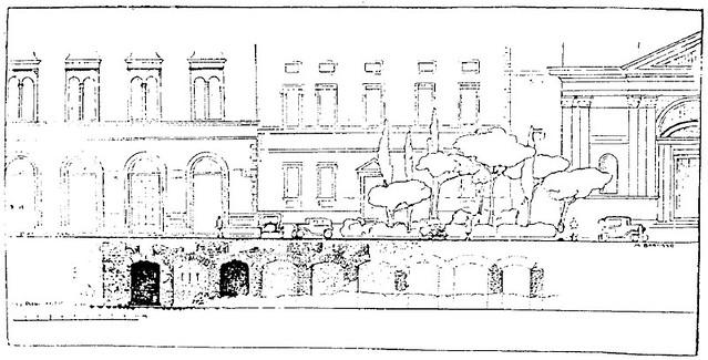 Rome, Pz. Venezia / Pz. Madonna di Loreto: Metro 'C' Archaeological Surveys Area S14/B1 (2006-2010). Plan: Arch. Maria Barosso (1932), Botteghe romane sotto di Pz. Venezia (scala 1:1000).