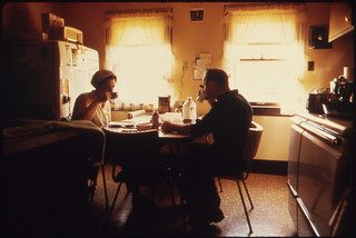 Mr. And Mrs. Wallace A. Wolf Eating Breakfast before He Leaves for His Job as an Automotive Mechanic ..., 10/1974