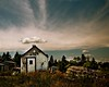blue rocks shed and cloud by -liyen-