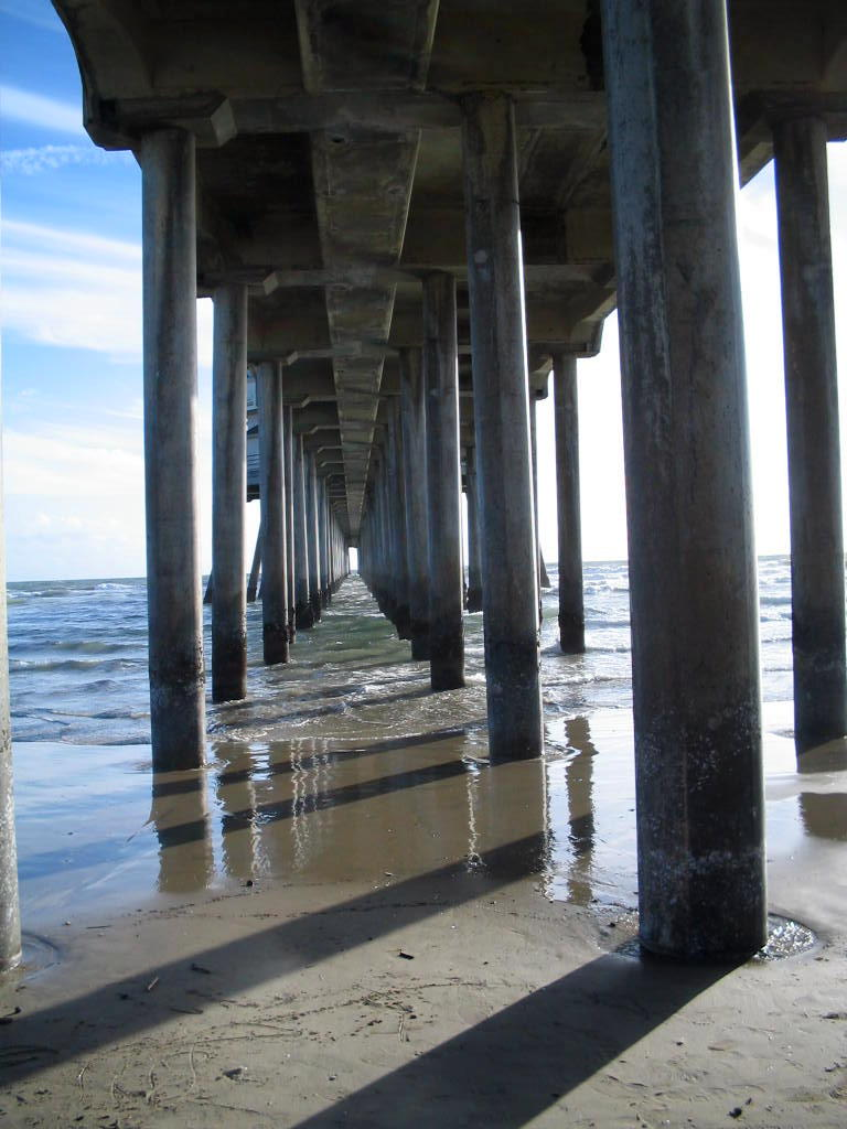 under the pier at huntington beach