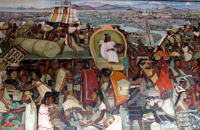 Tianguis mural de diego rivera mostrando la vida de los for Diego rivera la conquista mural