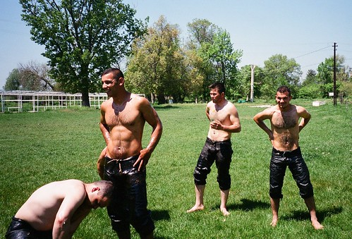 Edirne / Turk oil wrestlers at training...