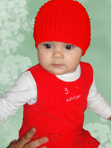 Baby Red HAT Hand Knit Size - from 3 to 9 months.