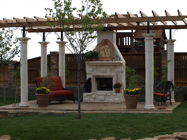 pergola with outdoor fireplace flickr photo