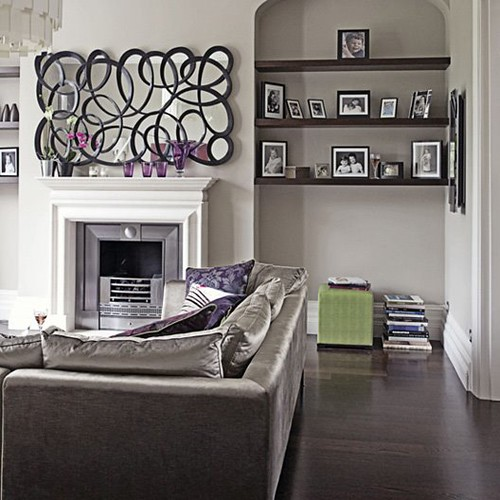 Modern chic grey and purple living room flickr photo for Purple and grey living room ideas