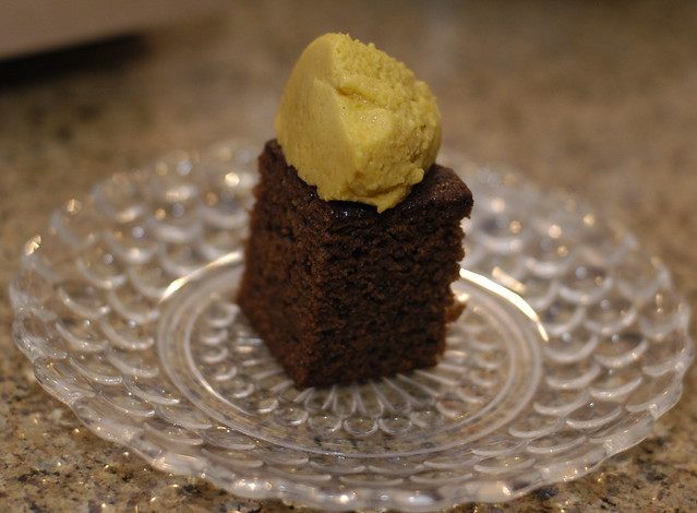 black sticky gingerbread with pumpkin mousse
