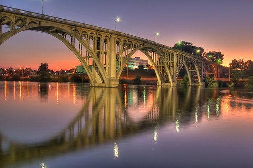 bridge sunset water reflections nikond50 memorialbridge hdr coosariver broadstreetbridge loriwalden