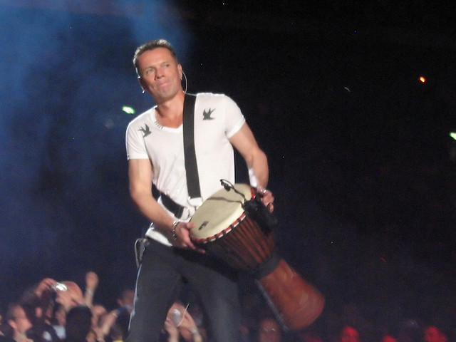 Larry Mullen on catwalk