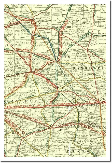 Indiana Interurban And Railroad Map C1906 Muncie Print